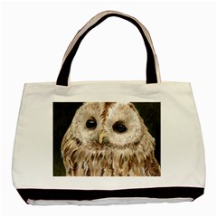 Tawny Owl Twin-sided Black Tote Bag