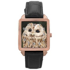 Tawny Owl Rose Gold Leather Watch