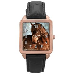 Midnight Jewel  Rose Gold Leather Watch