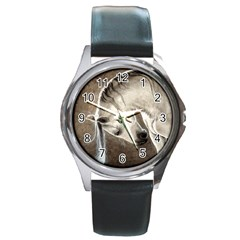 Humble Round Leather Watch (silver Rim)