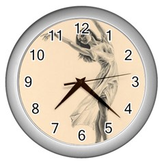 Graceful Dancer Wall Clock (Silver)