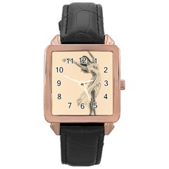 Graceful Dancer Rose Gold Leather Watch