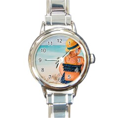 A Day At The Beach Round Italian Charm Watch