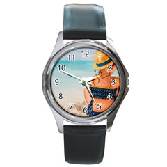 A Day At The Beach Round Leather Watch (Silver Rim)