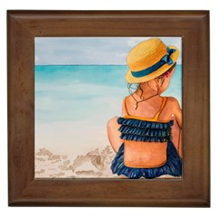 A Day At The Beach Framed Ceramic Tile