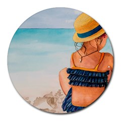 A Day At The Beach 8  Mouse Pad (round)