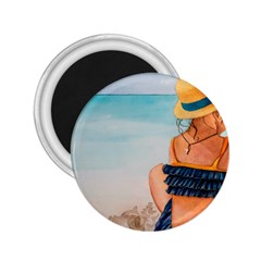 A Day At The Beach 2.25  Button Magnet
