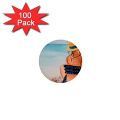 A Day At The Beach 1  Mini Button (100 pack)
