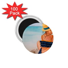 A Day At The Beach 1.75  Button Magnet (100 pack)