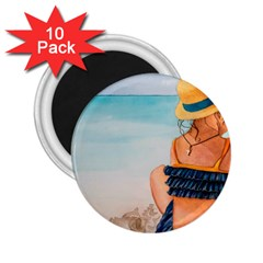 A Day At The Beach 2.25  Button Magnet (10 pack)