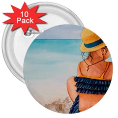 A Day At The Beach 3  Button (10 pack)