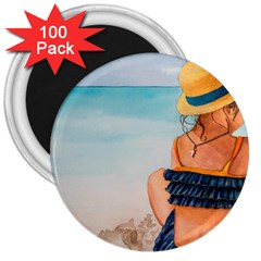 A Day At The Beach 3  Button Magnet (100 pack)