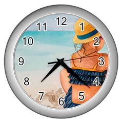 A Day At The Beach Wall Clock (Silver)