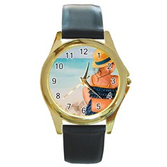 A Day At The Beach Round Leather Watch (gold Rim)