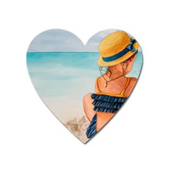 A Day At The Beach Magnet (Heart)