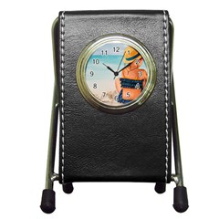 A Day At The Beach Stationery Holder Clock