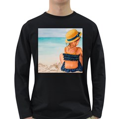 A Day At The Beach Men s Long Sleeve T Shirt (dark Colored)