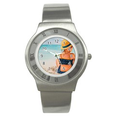 A Day At The Beach Stainless Steel Watch (Slim)