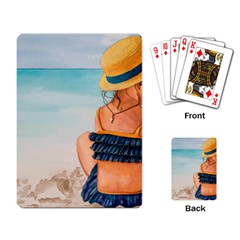 A Day At The Beach Playing Cards Single Design
