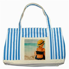 A Day At The Beach Blue Striped Tote Bag