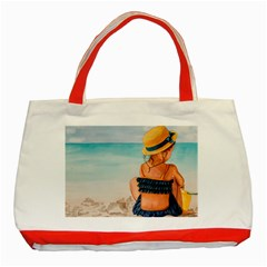A Day At The Beach Classic Tote Bag (red)
