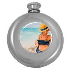 A Day At The Beach Hip Flask (round)