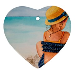 A Day At The Beach Heart Ornament (two Sides)