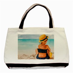 A Day At The Beach Twin-sided Black Tote Bag