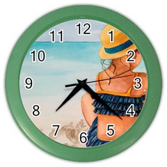A Day At The Beach Wall Clock (Color)
