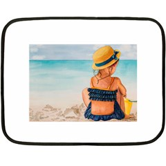 A Day At The Beach Mini Fleece Blanket (two Sided)