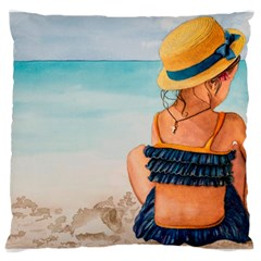 A Day At The Beach Large Cushion Case (single Sided)