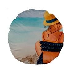 A Day At The Beach 15  Premium Round Cushion