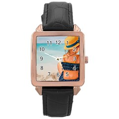 A Day At The Beach Rose Gold Leather Watch