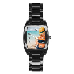 A Day At The Beach Stainless Steel Barrel Watch