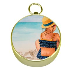 A Day At The Beach Gold Compass