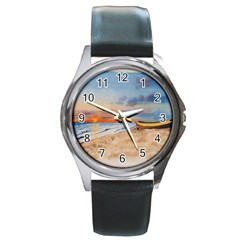 Sunset Beach Watercolor Round Leather Watch (Silver Rim)