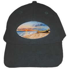 Sunset Beach Watercolor Black Baseball Cap