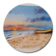Sunset Beach Watercolor 8  Mouse Pad (round)