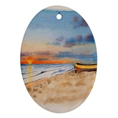 Sunset Beach Watercolor Oval Ornament