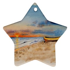 Sunset Beach Watercolor Star Ornament