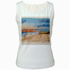 Sunset Beach Watercolor Women s Tank Top (White)