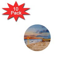 Sunset Beach Watercolor 1  Mini Button (10 Pack)