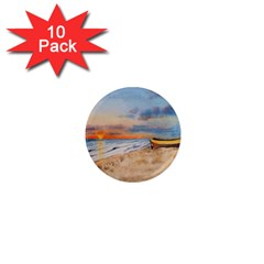 Sunset Beach Watercolor 1  Mini Button Magnet (10 pack)