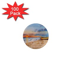 Sunset Beach Watercolor 1  Mini Button Magnet (100 pack)