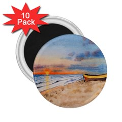 Sunset Beach Watercolor 2.25  Button Magnet (10 pack)