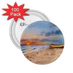 Sunset Beach Watercolor 2.25  Button (100 pack)