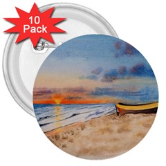 Sunset Beach Watercolor 3  Button (10 pack)