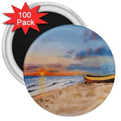 Sunset Beach Watercolor 3  Button Magnet (100 pack)