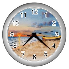 Sunset Beach Watercolor Wall Clock (Silver)