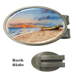 Sunset Beach Watercolor Money Clip (Oval)